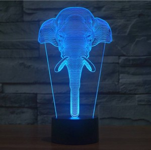 Elephant shape 3D illusion lamp,LED usb touch switch nightlight Colorful gradient Acrylic engrave 3D visual creative night light