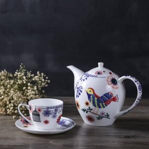 English afternoon tea set Bone European saucer teapot fruit plate double deck black tea coffee and saucer.