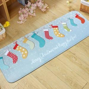 Entrance Doormats Cartoon Flannel Door MAT Cute Snowmen Printed Carpet Living Room Bedroom Floor Mats Kitchen Christmas Rugs