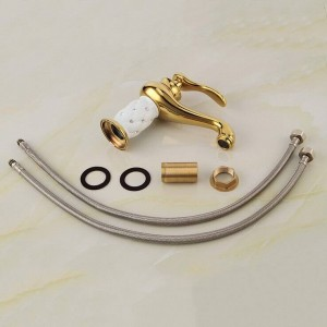 Euro Style Brass Material Golden Plated White ceramic with Diamond Basin Mixer Taps Deck Mounted Sink Faucet XT602