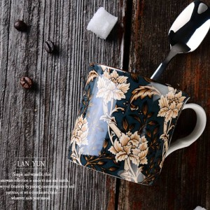 Europe Classical Bone mug English Court Wind Mug Coffee Cup Milk Cups Teacup travel mug handle Water Mug 300ml Drinkware