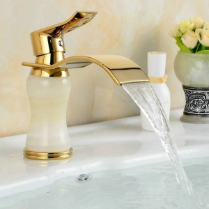 Europe Gold plated luxury single hole white body made in natural jades bathroom basin faucets 1011