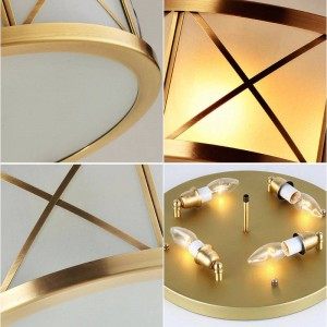 Europe Real brass body Ceiling lights Nordic glass lampshade led lamp for home Store Luxury foyer decoration Lighting fixture
