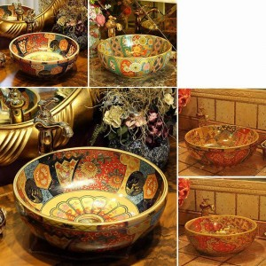 Europe Vintage Style Ceramic Washing Basin Bathroom Counter top Bathroom Sink hand washbasin antique round