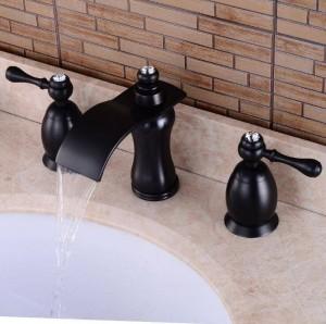 European black ancient basin three-hole faucet retro wash basin faucet bathroom three-piece hot and cold waterfall faucet XR8233