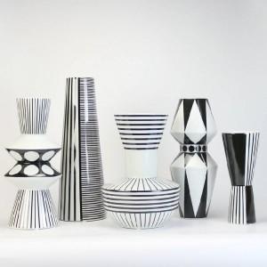 European Black And White Pattern Geometric Ceramic Vase Flower Inserted Simple Modern Home Vase Jewelry Ornaments