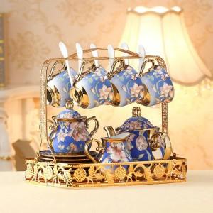 European Ceramic Tea Cup And Saucer Set Ivory Gold bone Coffee Cups Set Pot Creamer Sugar Bowl Teatime Teapot Mug