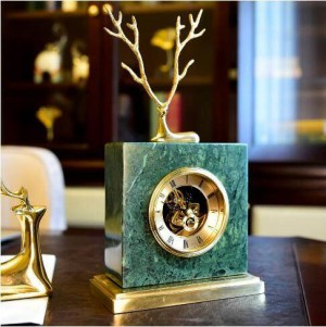 European copper deer marble clock American retro home living room study office TV cabinet decoration decoration gift