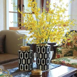 European Creative Living Room Ceramic Vase Floral Set Furnishings Home Model Room Porch Storage Tank Decorations