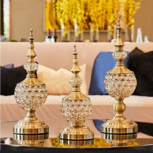 European crystal glass Candy jar living room decoration ornaments small Sugar bowl metal with lid dried fruit plate gift can's