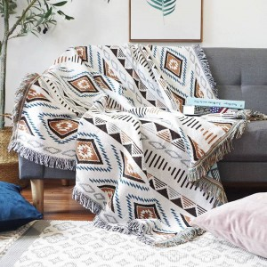 European Geometry Energy Throw Blanket Sofa Decorative Slipcover Cobertor on Sofa/Plane Travel Plaid Non-slip Stitching Blankets