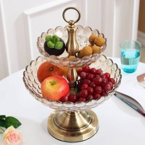 European Glass Double-layer Fruit Bowl Home Decoration Living Room Jewelry Factory Direct Sales