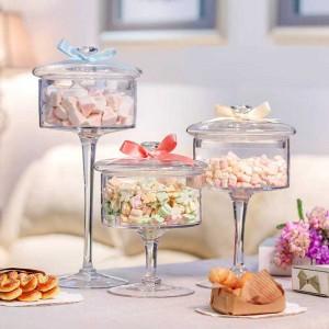 European high-grade glass candy jar transparent cover Storage bottle dust-proof glass cake dessert plate Wedding decoration
