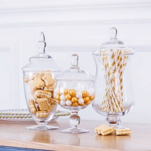 European high quality Candy jar artificial blown glass bottle hotel wedding dessert table decoration snack biscuit Storage tank