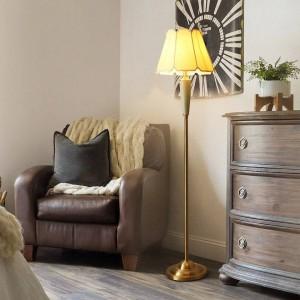 European LED Copper Living Room Household Study Floor Lamp Nordic Bedroom Bedside Home Deco Cloth Lampshade Floor Light Fixtures