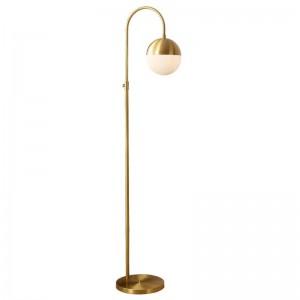 European LED Copper Living Room Household Study Floor Lamp Nordic Bedroom Home Deco Glass Lampshade Floor Light Fixtures