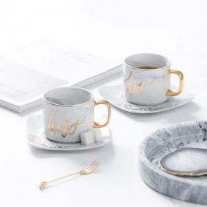 European Literary Marbled Ceramic Coffee Cup And Saucer Set Afternoon Tea Black Tea Cup
