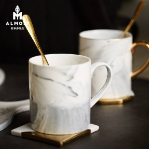 European marble texture mug drawing gold edge ceramic cup home office coffee cup couple cup