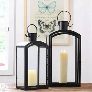 European modern minimalist outdoor iron candlestick decoration garden floor wind lamp wedding props model room decoration