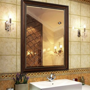 European retro bathroom mirror toilet wall hanging makeup mirror rectangular bedroom living room mirror wx8241641
