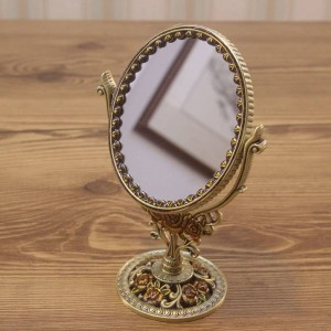 European retro vanity mirror bathroom bedroom bronze make up mirror creative metal double-sided decorative mirror wx8230930