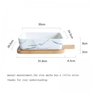 European Style Ceramic Marble Texture Plate with Wooden Chopping Board Kit Home Fruit Salad Bread Large Deep Dish Tableware