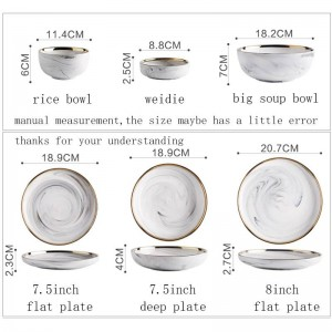 European Style Ceramic Marble Texture Spaghetti Plate Gold Border Tableware Vegetables Deep Dishes Rice Bowl Soup Noodle Bowls