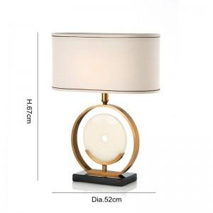 European style study LED table lamps American marble creative living room bedroom bedside cloth art E27 light reading lamp