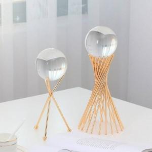 European style Transparent crystal ball Decoration Living room decoration Metal bracket Glass crafts ornaments