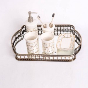 European-style Wrought Iron Plated Glass Storage Tray Mirror Bottom Tray Living Room Light Luxury Plate Decoration Fruit Plate