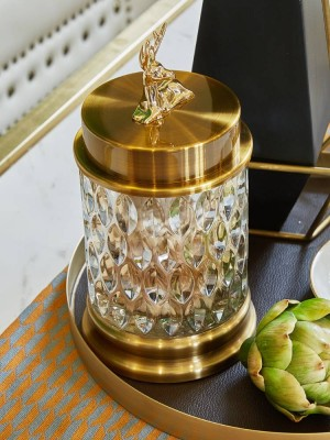 European Transparent Crystal Glass Candy Jar Storage Tank Utensils Creative Sugar Cans Living Room Decorations Ornaments