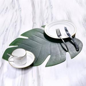 EVA Tortoise Back Leaf Shape Table Mat Water-proof Oil-proof Placemat Suitable For Family Festivals Western Restaurants Hotels
