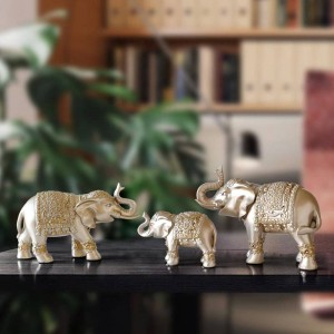 Family elephant Figurine resin Thailand elephant statue for office Living room handmade home decorations cute Animals ornaments