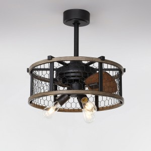 Farmhouse Rustic Reversible Ceiling Fan with Lights 3-Blade Wire Drum Semi Flush Mount Ceiling Fan with Remote
