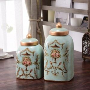 Farmhouse Vintage Ceramic Kitchen Storage Canister Hand Painted Floral Pattern with Decorative Lid in Light Green & Antique Gold Set of 2
