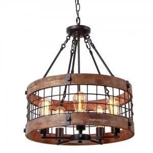 Farmhouse Wood Circular Chandelier Black Metal Cage 5-Light Exposed Bulbs