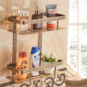 Fashion Antique Space Aluminum Bathroom Shelf Double Layer Corner Shelf Basket