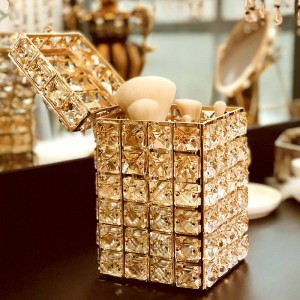 Fashion Golden Crystal Dressing Table Makeup Brush Organizer Pen Holder With Lid Eyebrow Pencil Square Storage Box Holder