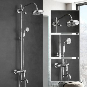 Fashion Shower Faucets Brass Gold Faucet Round Tube Single Handle Top Rain Shower With Slide Bar Wall Water Mixer Tap