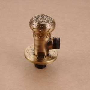 "Faucet Replacement Parts 1/2"" x 1/2"" Antique Brass Angle Stop Valve Shut Off Water Triangle Valve for Faucet and Toilet HJ-0318F"