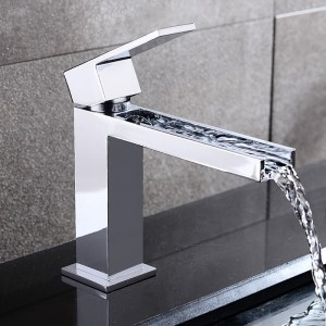 Fiego Modern Open Channel Polished Chrome Waterfall Single Hole Faucet for Bathroom Sinks Solid Brass