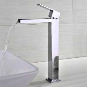 Fiego Modern Polished Chrome Waterfall 1-Hole Faucet for Bathroom Vessel Sinks Solid Brass with Single Handle