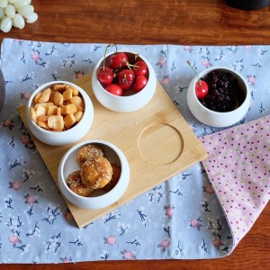 Five-piece set Fruits Platter Serving Trays Creative Ceramic Dish Plates for Snacks/Nuts/Desserts Eco Natural Bamboo Tray