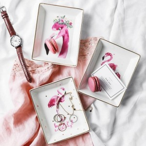 Flamingo Pattern Ceramics Storage Plate INS Minimalist Dessert Jewelry Sundries Container Decor Desk Storage Organizer for Home