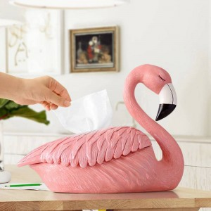 Flamingo Statue decoration for home hotel restaurant tissue holder tabletop resin ornaments decorative craft tissue box