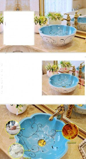 Flower shape European Style Antique Basin Washbasin Bathroom Hand Basin hand painted vessel sinks ceramic decorative wash basin