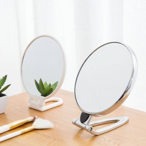 Folding desktop vanity mirror desktop makeup princess mirror wall hanging round small portable makeup mirror wx8241017