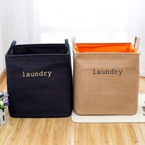 Folding large denim cotton linen hamper laundry basket clothing toys put dirty clothes box storage basket