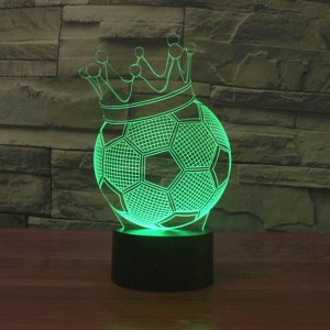 Football Crown 3D LED Night Lights creative 7 colors Changing holiday deco USB illusion Lamp Acrylic children bedside lamp