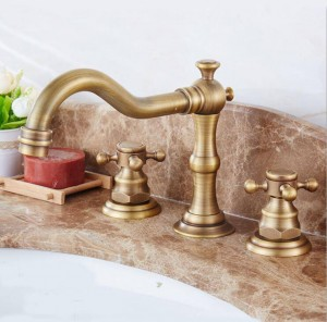 All - ceramic antique three - piece faucet hot and cold mixed water basin three - hole faucet bathtub faucet 8205